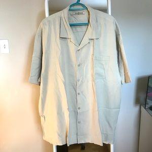 Tommy Bahama 100% silk cream button up shirt